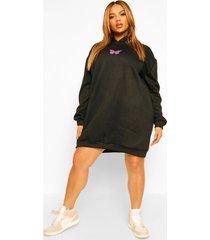 plus sweatshirt jurk met vlinder en capuchon, black