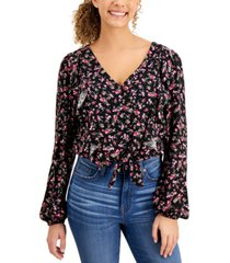 self esteem juniors' ruffled floral-print top