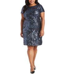 r & m richards plus size sequin sheath dress