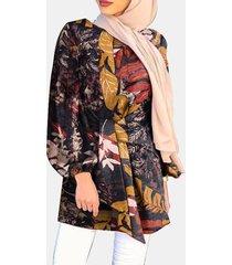 camicetta casual da donna con maniche a sbuffo con stampa etnica a foglie