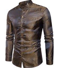 camicia da colletto da uomo casual lucida alla moda per uomo
