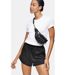 black jersey diamante shorts - black
