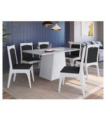 conjunto mesa com base móveis canção 6 cadeiras