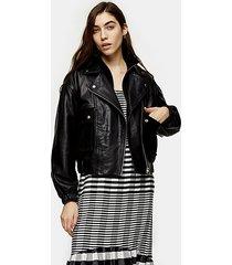 black leather jacket - black