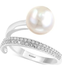 pearl lace by effy cultured freshwater pearl (10mm) and diamond (1/8 ct. t.w.) ring in 14k white gold