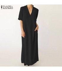 zanzea mujeres con cuello en v de hendidura lateral maxi largo vestido de tirantes kaftan vestido de algodón retro -negro