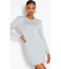 padded shoulder long sleeve t-shirt dress, sage