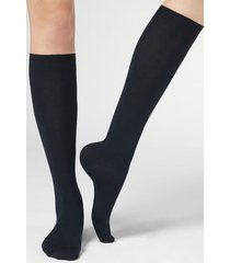 calzedonia long socks in cotton with cashmere woman blue size 39-41