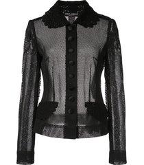 dolce & gabbana fitted mesh jacket - black