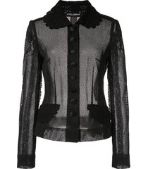 dolce & gabbana fitted mesh jacket - black