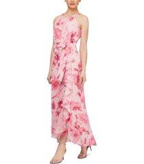 sl fashions floral-print maxi dress
