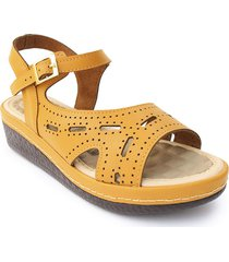 sandalia casual tipo confort para dama color mostaza 6922080mostaza