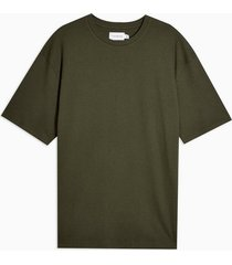 mens green khaki ribbed textured t-shirt