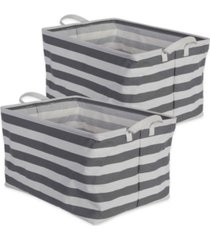 design imports polyethylene coated cotton polyester laundry bin stripe rectangle extra large set of 2