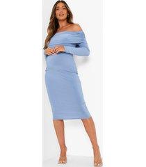 zwangerschap overlay midi jurk met uitgesneden hals, sky blue