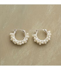 sterling silver froth of pearls earrings