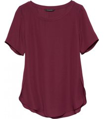 blusa crew high low tee morado banana republic
