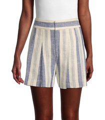 alice + olivia by stacey bendet women's striped linen-blend shorts - cream blue - size 0
