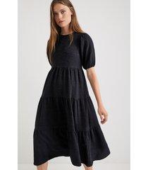 plain texturized midi-dress - black - xl