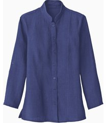 lange linnen blouse met opstaande kraag, indigo 46