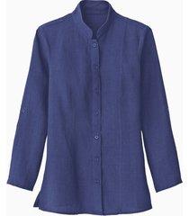 lange linnen blouse met opstaande kraag, indigo 34