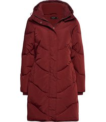 slmala hoodie coat gevoerde lange jas rood soaked in luxury