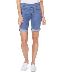 women's nydj roll cuff pull-on denim shorts, size 16 - blue