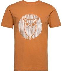alder outline owl tee - gots/vegan t-shirts short-sleeved brun knowledge cotton apparel