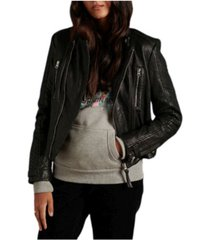 superdry women's classic leather racer jacket