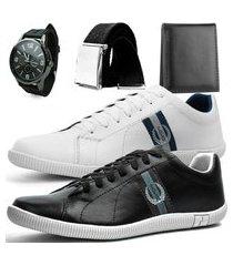 kit 2 pares de sapatênis casual dhl polo masculino branco e preto + relógio + cinto + carteira