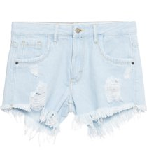 short feminino praiano jeans - azul