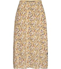 prt elastic waist midi skirt knälång kjol gul calvin klein