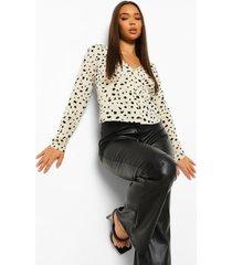 dalmatiërprint blouse met knopen, white