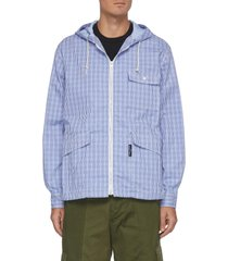 flap pocket checker drawstring hood jacket