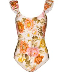 zimmermann ruffle-trimmed floral-print swimsuit - cream floral