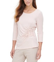 calvin klein lace-up 3/4-sleeve top