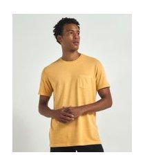 camiseta regular fit lavada com bolso | marfinno | amarelo | gg