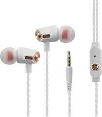 audífonos, r36 estéreos atados con alambre de 3.5mm sin manos estupendos del auricular del deporte del receptor de cabeza de los con el mic (oro de rose)