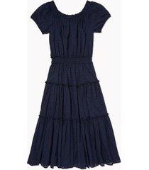tommy hilfiger women's essential dot stripe peasant dress sky captain - 14