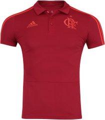 camisa polo do flamengo viagem 2018 adidas - masculina - vermelho