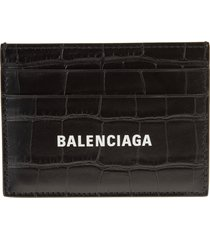 balenciaga man crocodile embossed black leather card holder with contrast logo