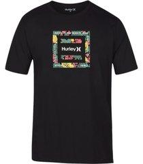 hurley men's floral logo t-shirt
