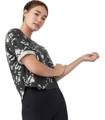 manduka women's performance cropped t-shirt - black and white tie dye - x-small cotton