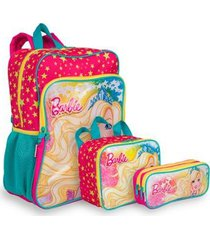 kit barbie 19m plus 1 infantil sestini - mochila + lancheira + estojo
