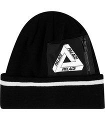 palace zipped pocket beanie - black