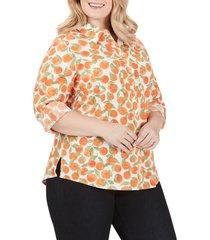 plus size women's foxcroft zoey tossed oranges cotton blouse