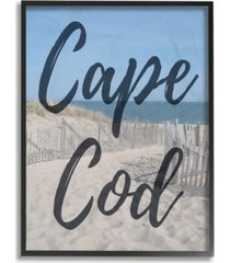 "stupell industries cape cod beach typography modern framed giclee art, 16"" x 20"""