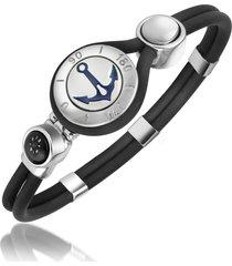 forzieri designer men's bracelets, anchor & compass stainless steel and rubber bracelet