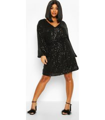 plus sequin belted blouson sleeve wrap dress, black