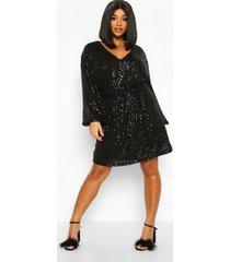plus wikkel jurk met pailletten, ceintuur en shirtmouwen, zwart